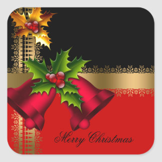 Merry Christmas Holiday Red Bells Black Gold Stickers