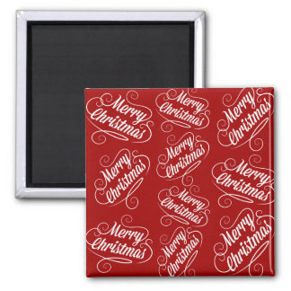 Merry Christmas Holiday Red Seasonal Design Refrigerator Magnet