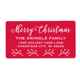 Merry Christmas | Holiday Return Address Shipping Label