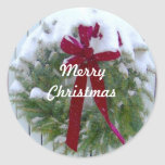 Merry Christmas Holiday Season Card Envelope Seals Round Sticker