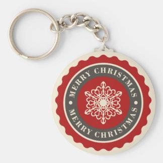 Merry Christmas Holiday Snowflake Basic Round Button Key Ring