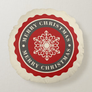 Merry Christmas Holiday Snowflake Round Cushion
