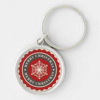 Merry Christmas Holiday Snowflake Silver-Colored Round Key Ring