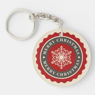 Merry Christmas Holiday Snowflake Single-Sided Round Acrylic Key Ring