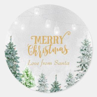 Merry Christmas holiday sticker snow winter trees