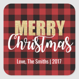 Merry Christmas Holiday Stickers on Plaid Back