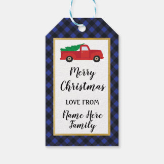 Merry Christmas Holiday Tags Red Truck Blue Plaid