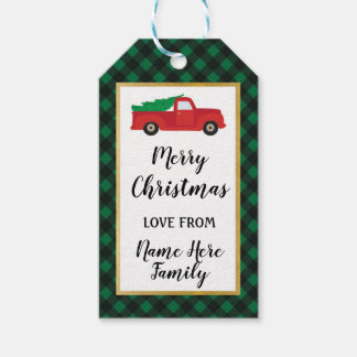 Merry Christmas Holiday Tags Red Truck Green Plaid