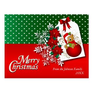 Merry Christmas Holiday Teddy Bear Postcard
