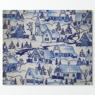 Merry Christmas Holidays Olde-World Winter Village Wrapping Paper
