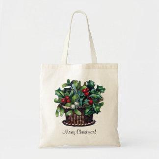 Merry Christmas Holly Basket Tote Bag Tote Bag
