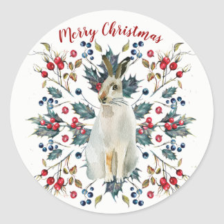 Merry christmas holly berries hare sticker label