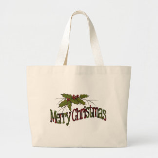 Merry Christmas, Holly, Berries, Twigs: Art Canvas Bag