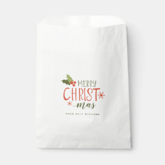 Merry Christmas Holly Berry Favour Bag