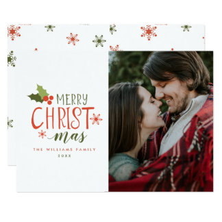 Merry Christmas Holly Berry Photo Card