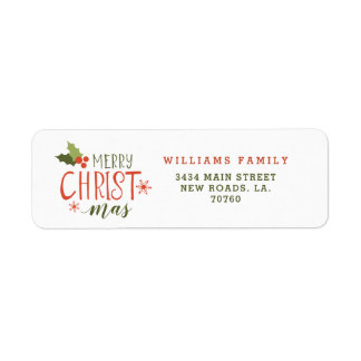 Merry Christmas Holly Berry Return Address Label