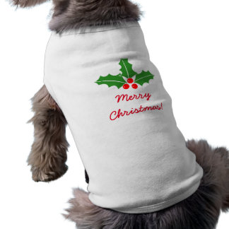 Merry Christmas holly leaves pet clothing for dog