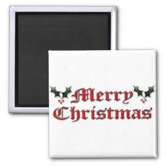 Merry Christmas - Holly Magnets