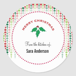 Merry Christmas holly, personalized baking Round Sticker