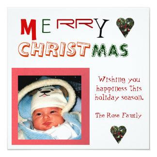 Merry Christmas Holly Photo Card 13 Cm X 13 Cm Square Invitation Card