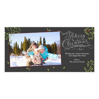 Merry Christmas Holly Picture Card
