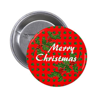 Merry Christmas Holly Pinback Button