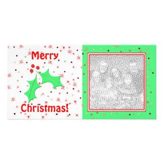 Merry Christmas Holly Stars Photo Cards