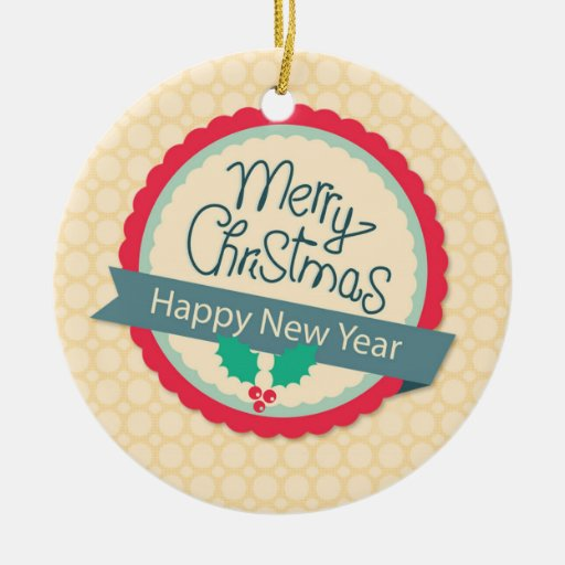 Merry Christmas Holly Tag Christmas Ornaments