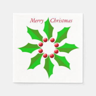 Merry Christmas Holly White Cocktail Paper Napkins