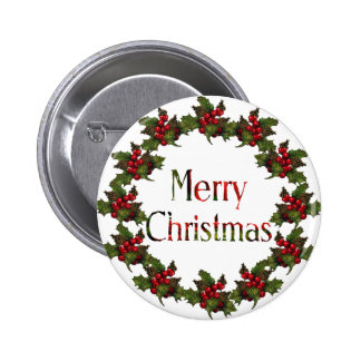 Merry Christmas Holly Wreath Pine Cones Art Pin
