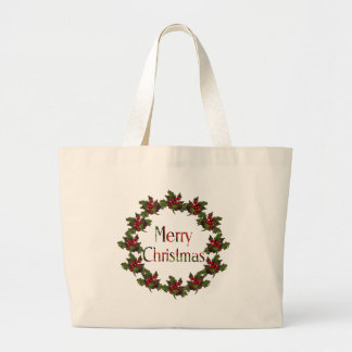 Merry Christmas: Holly Wreath, Pine Cones: Art Tote Bags