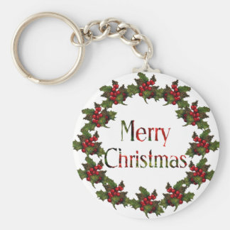 Merry Christmas: Holly Wreath, Pine Cones: Art Basic Round Button Key Ring