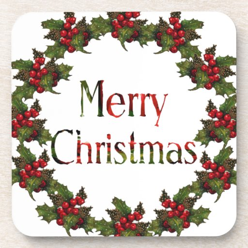 Merry Christmas: Holly Wreath, Pine Cones: Art Coasters