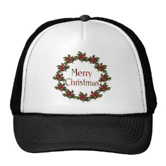 Merry Christmas: Holly Wreath, Pine Cones: Art Hat
