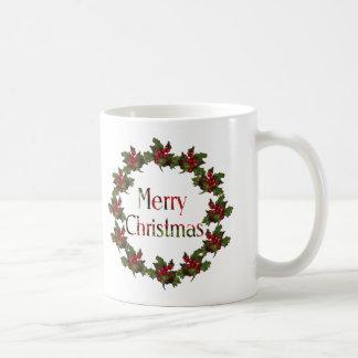 Merry Christmas: Holly Wreath, Pine Cones: Art Mugs