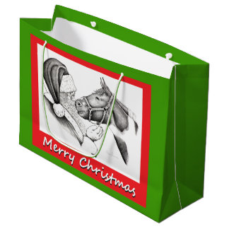 Merry Christmas Horse and Santa Claus Large Gift Bag