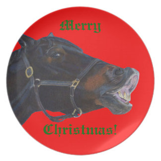 Merry Christmas Horse Plate