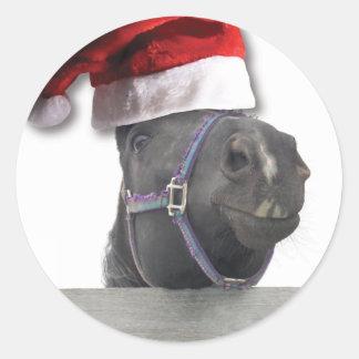 Merry Christmas Horse Round Sticker