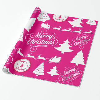 Merry Christmas Hot Pink Holiday Xmas Design