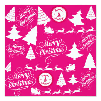 Merry Christmas Hot Pink Holiday Xmas Design 13 Cm X 13 Cm Square Invitation Card