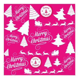 Merry Christmas Hot Pink Holiday Xmas Design 13 Cm X 13 Cm Square Invitation Card