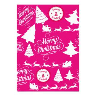 Merry Christmas Hot Pink Holiday Xmas Design Custom Invitation