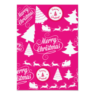Merry Christmas Hot Pink Holiday Xmas Design 13 Cm X 18 Cm Invitation Card