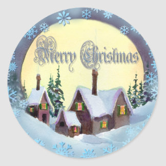 MERRY CHRISTMAS HOUSES by SHARON SHARPE Round Sticker