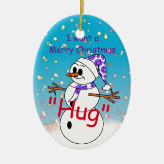 Merry Christmas Hug Ceramic Oval Decoration