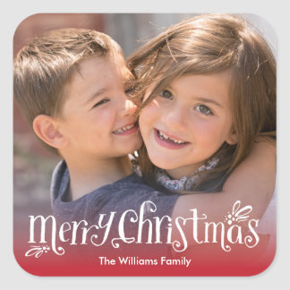 Merry Christmas Hugs | Holiday Photo Sticker