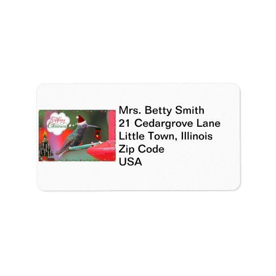 Merry Christmas Hummingbird Address Label