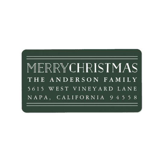 Merry Christmas   Hunter Green Return Address Label
