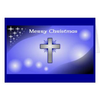 Merry Christmas Ice Blue Glowing Cross Greeting Card