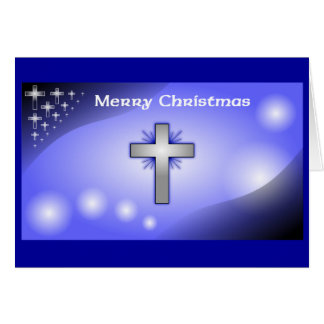 Merry Christmas Ice Blue Glowing Cross Note Card